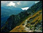 """Kubuś Puchatek """"Tatry 2006 - samotny wedrowiec na szlaku w drodze na szczyt..."""" (2006-10-19 19:09:09) komentarzy: 27, ostatni: świetnie koreluje ze ścieżką i jasnym tlem , b. dobry moment na ujęcie..."""